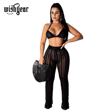 Wishyear Knitted Hollow Out Two Piece Set Women Sexy Night Club Suits Halter Bra Top Straight Pants Casual Beach Outfits