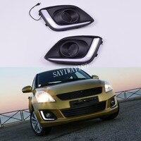 2 Pcs Auto LED DRL Driving Tagfahrlicht Weiß Für Suzuki Swift 2014 2015 2016 auto styling nebel lampe abdeckung-in Chrom-Styling aus Kraftfahrzeuge und Motorräder bei