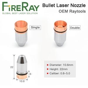 Calibre 0.8-4.0 da dupla camada do bocal do laser da bala de fireray único para a máquina de corte do laser da fibra de lasermech de cincinnati raytools