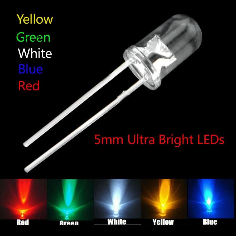5 Colors X100pcs =500pcs New 5mm Round Super Bright Led Red/Green/Blue/Yellow/White/ Water Clear LED Light Diode Kit