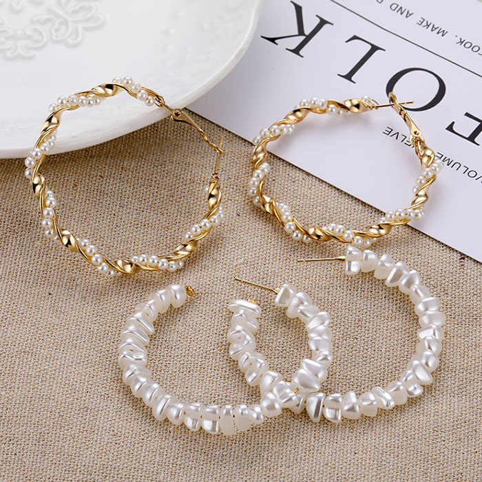 Oversize Pearl Hoop Earrings For Women Girls Unique Twisted Big Earrings Circle Earring Brinco Statement Fashion Jewelry