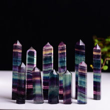Natural Fluorite Crystal Colorful Striped Fluorite Quartz Crystal Stone Point Healing Hexagonal Wand Treatment Stone 3 Size(China)