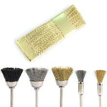 Broca para unhas de cobre dourado, escova portátil para limpeza de unhas, ferramenta de limpeza, cortador para manicure e arrotos, 1 peça