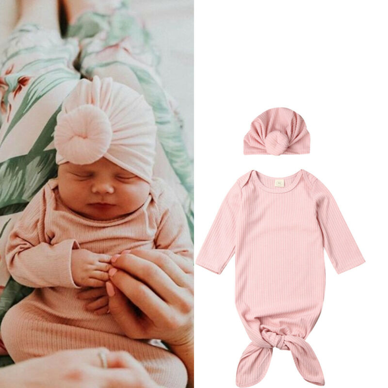 2PCS Newborn Baby Swaddle Muslin Blanket Infant Wrap Sleeping Bag+Hat Set Sleeping Bags