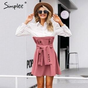 Image 2 - Simplee Patchwork puff sleeve shirt dress women Elegant button sash belt office ladies dresses Autumn ladies khaki work dress