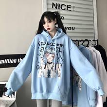 Harajuku meninas japonesas letras imprimir manga longa velo quente corrente hoodies feminino inverno solto pullovers camisola com capuz topos