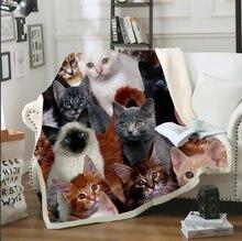 Одеяло с объемным принтом для кошек и толстых собак плюшевое