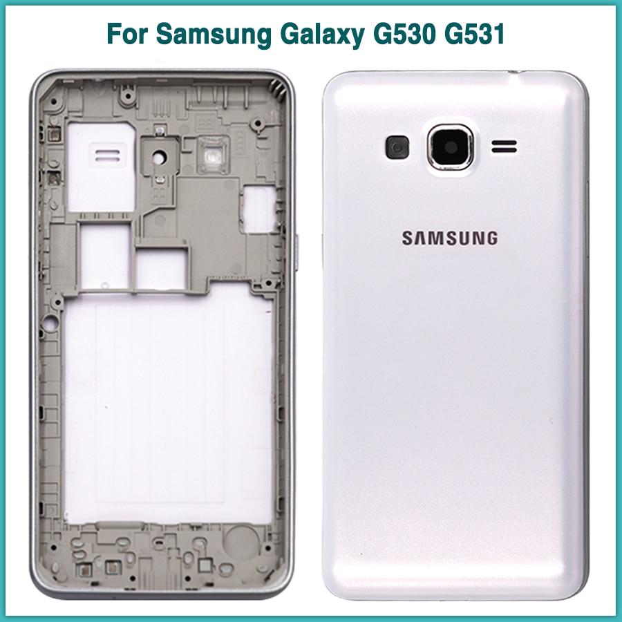 New G531 Rear Housing Case For Samsung Galaxy Grand Prime G530 G530H G531H G531F Battery Back Cover Door + Middle Frame Bezel