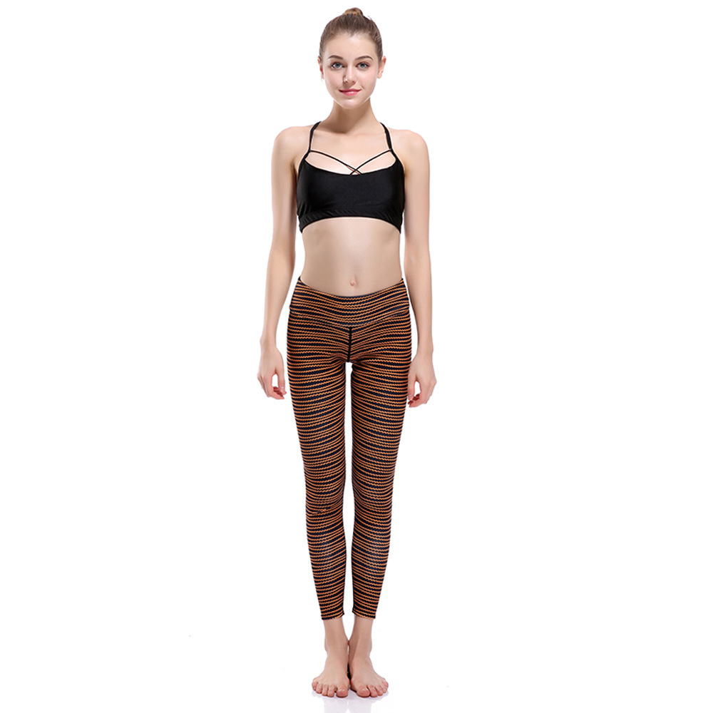 Wave Line Slim Hip Lifting Exercise Breathable Super-elastic Speed Dry Nine-point  Suit Leggings