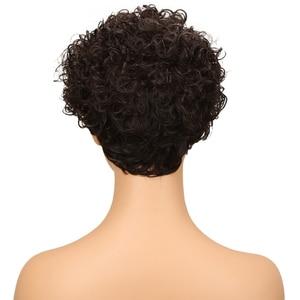 Image 3 - Trueme Mode Krullend Wave Menselijk Haar Pruiken Voor Vrouwen Braziliaanse Remy Haar Pruik Dames Krullend Pixie Korte Haar Volledige Pruiken groothandel