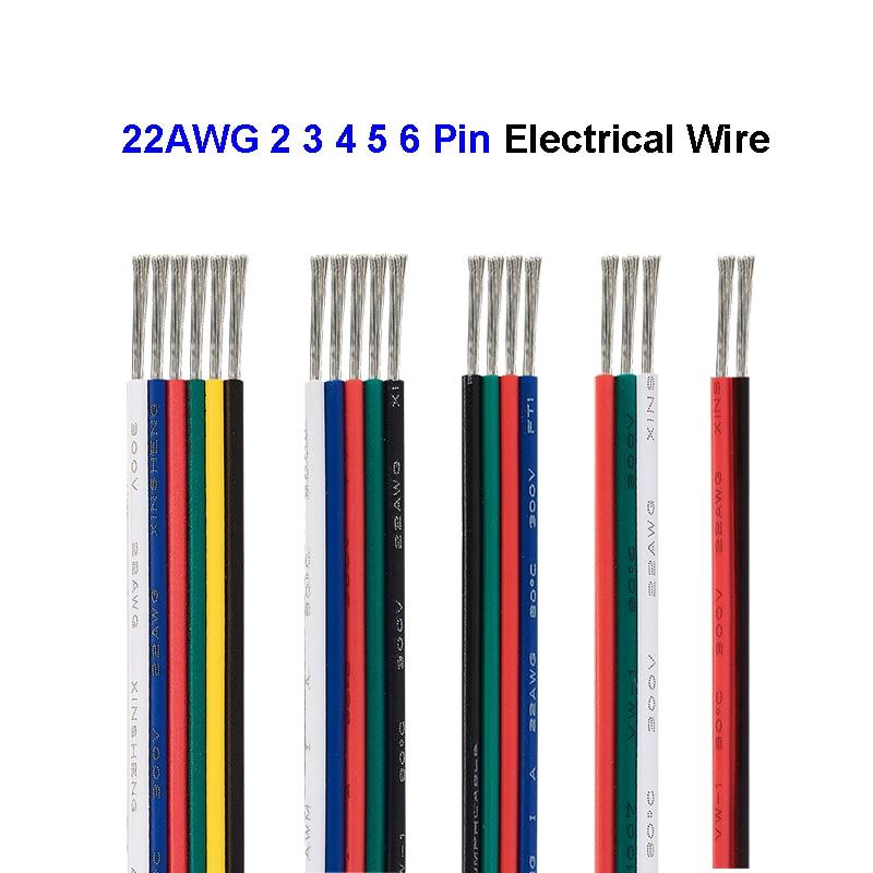 2/3/4/5/6pin conectores de fio elétrico 22 awg fio 5/100m cabo de tira led para 5050 rgb rgbw rgbww ws2812 cct lâmpadas led módulos