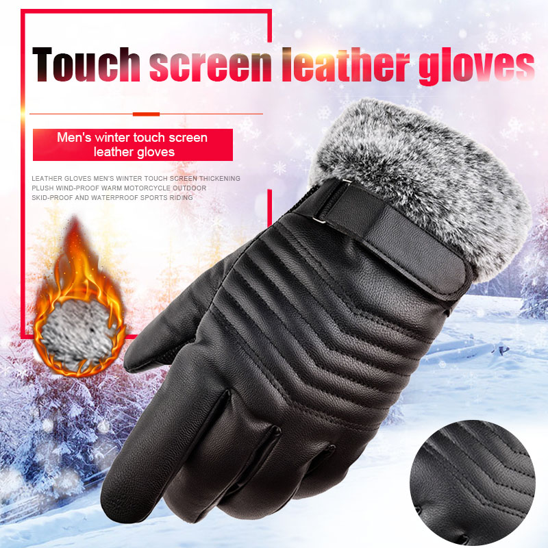 Leather Gloves Motorcycle Men Full Finger Touch Screen Driving Winter Warm Glove