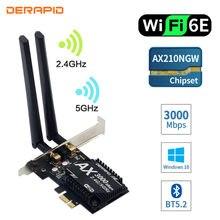 3000Mbps Wifi 6E escritorio PCIe adaptador Wifi inalámbrico Intel AX210 Bluetooth 5,2 AX200 tarjeta Wifi 2,4G/5G 802.11ax MU-MIMO