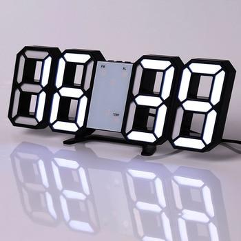 Led Digital Wall Clock Modern Design Watch Clocks 3D Living Room Decor Table  Alarm Nightlight Luminous Desktop 10