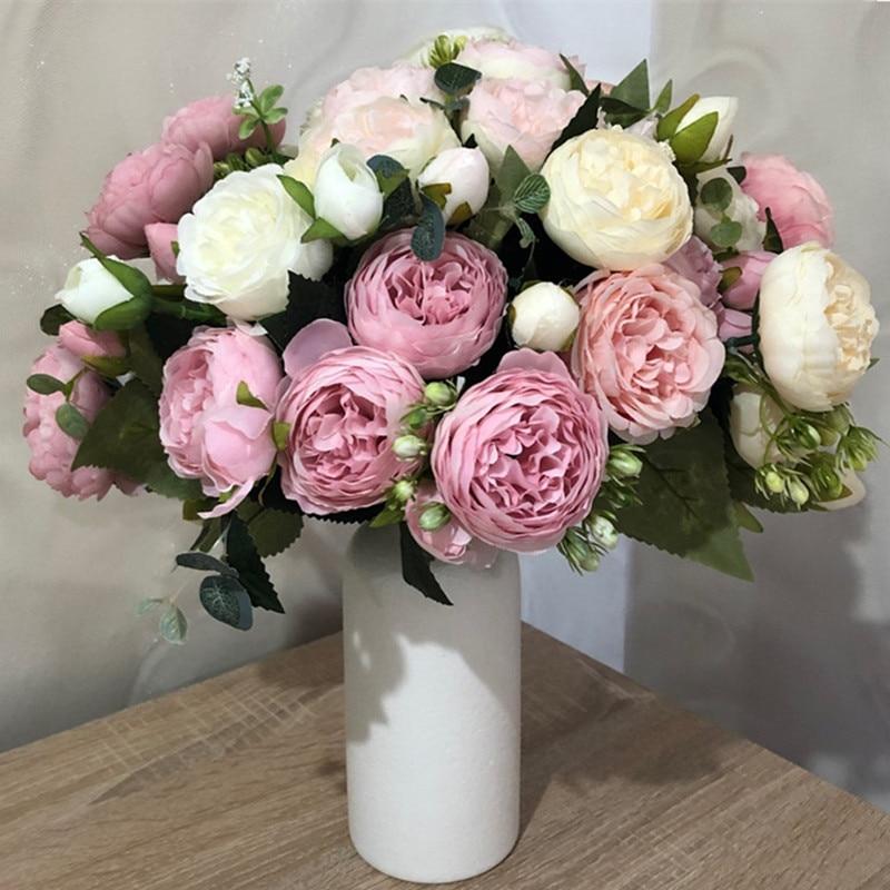 Розовые шелковые искусственные пионы, букет высотой 30 см из 5 больших цветков и 4 закрытых бутонов, недорогие искусственные цветы для украше...