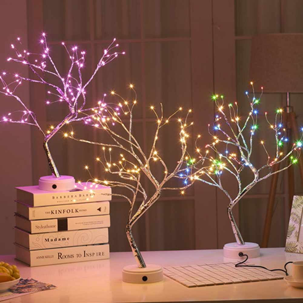36/108 Đèn LED Dùng Nguồn USB Cây Cảnh Cây Đèn Dây Đồng Dây Đèn Bàn Đèn Chiếu Sáng Ban Đêm để Đầu Giường Cưới Quà Giáng Nhà Trong Nhà trang trí