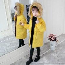 Зимнее Детское пальто теплая пуховая куртка для маленьких девочек детская модная верхняя одежда с принтом Детский Рождественский костюм, платье для девочек