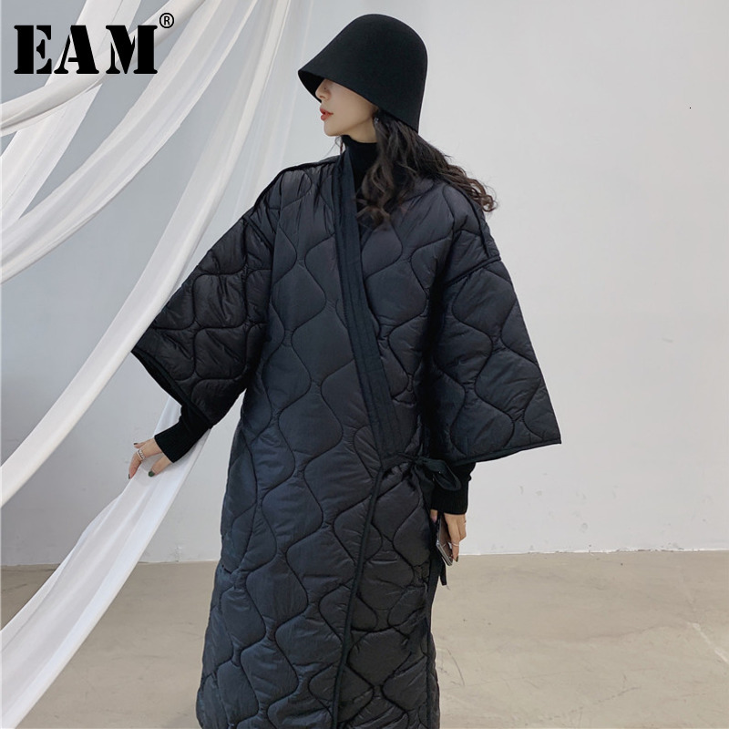 [EAM] Bandage Big Size Warm Cotton-padded Coat Long Sleeve Loose Fit Women Parkas Fashion Tide New Spring Autumn 2020 JD18601