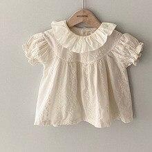Tops Shirt Newborn Toddler Baby-Girl Cotton Summer Infant Fashion Collar Puff-Sleeve