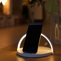 Wooden Qi Wireless Charger Lamp Desktop Wireless Charging Nightligh Stand Holder For Samsung Galaxy S10e Note10 9 Plus Xiaomi