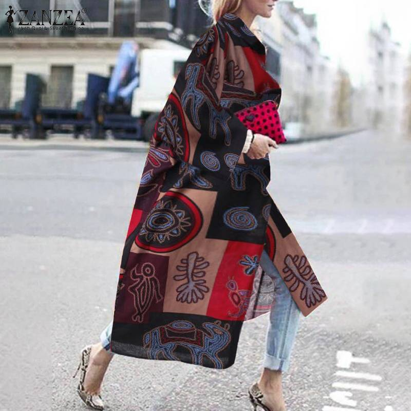 Vintage Printed Cardigan Women's Thin Coats 2020 ZANZEA Casual Open Stich Outwears Female Long Sleeve Lapel Tops Plus Size Tunic