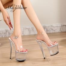 Sandalias de tacón alto transparentes para mujer, zapatos de boda sexys con plataforma de cristal transparente, 2020