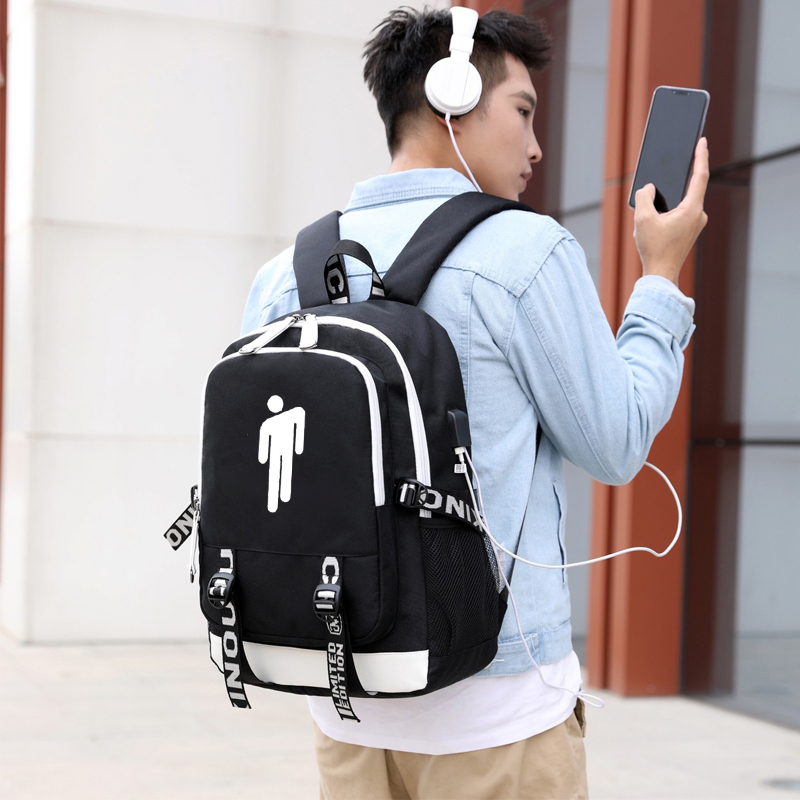 Image 3 - Pop Singer Billie Eilish luminous backpack for Teenage Boys Girls School Bag Can USB Charging and Waterproof Laptop BackpackBackpacks   -