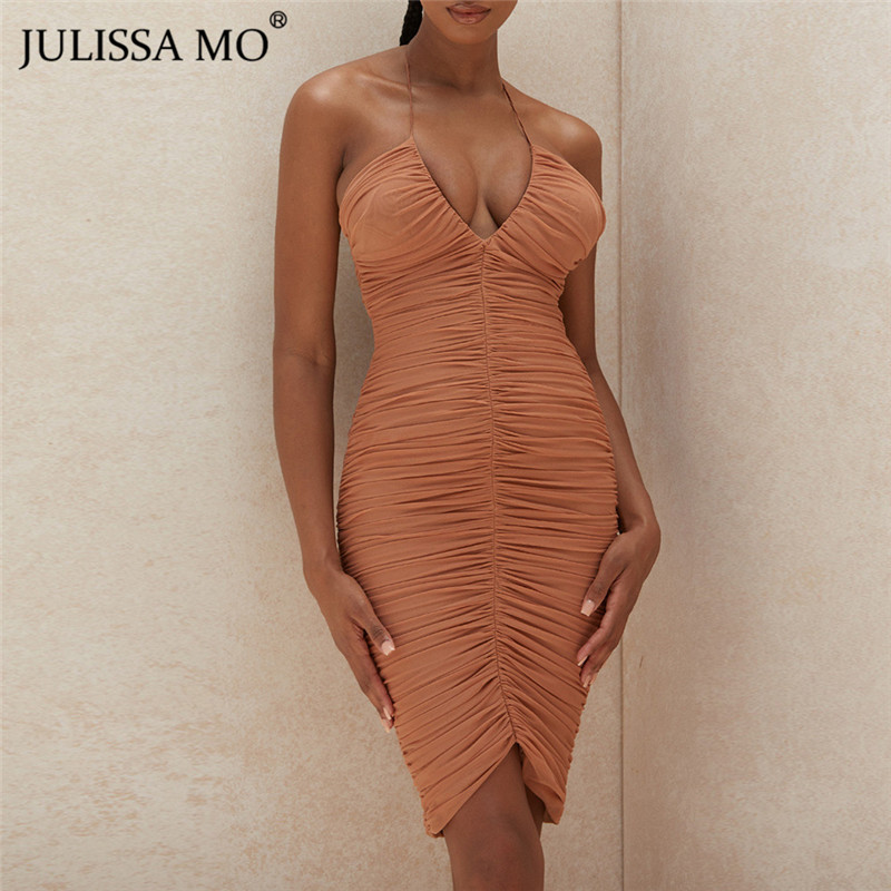 JULISSA MO Summer V-Neck Ruched Bodycon <font><b>Dress</b></font> Women Lace Up Backless <font><b>Mini</b></font> <font><b>Dresses</b></font> 2020 Female Halter <font><b>Sexy</b></font> Mesh Party Vestidos image