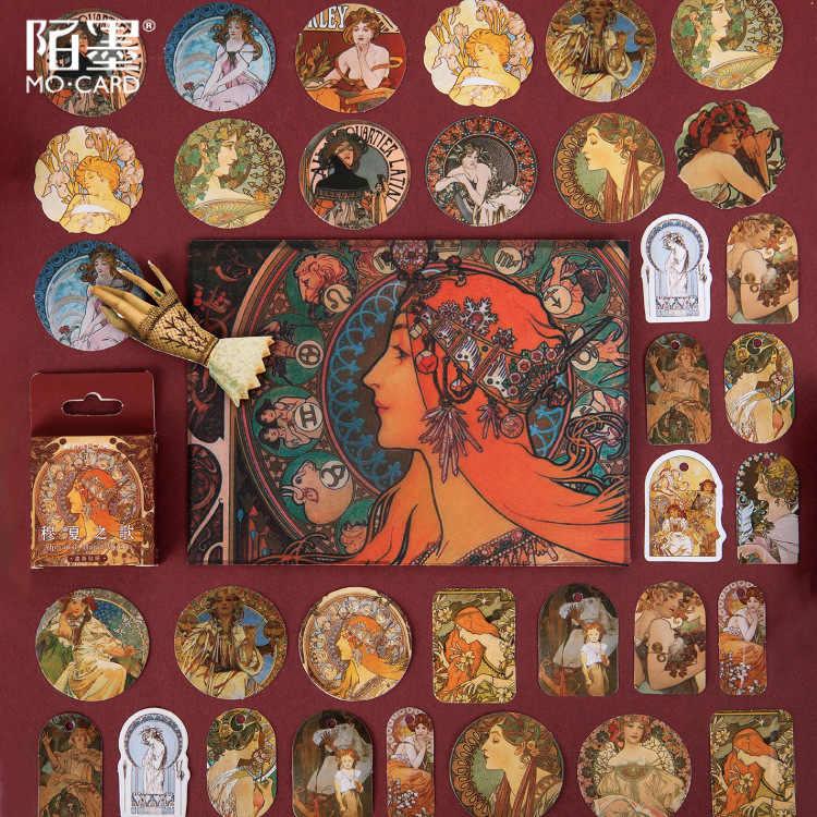 46 Stks/pak Mucha Schilderij Papier Sticker Decoratie Stickers Diy Ablum Dagboek Scrapbooking Label Sticker