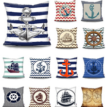 Navigation Compass Anchor Pillow Cover Home Decorative Mediterranean cushion cover Printed Cushion Covers Throw Pillow Case Hot