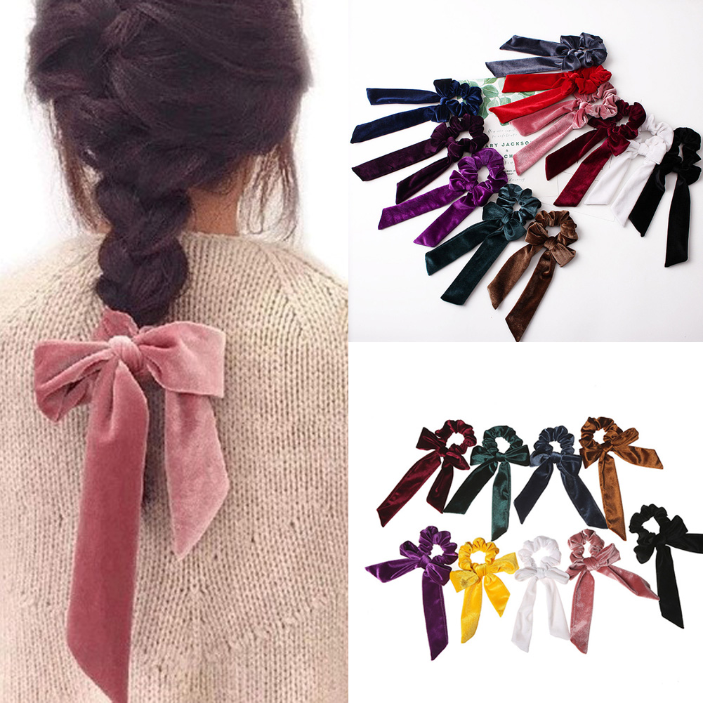 Ladies Soft Velvet Hair Scrunchie Ribbon Girls Ponytail Holder Bow Hair Ties Elastic Hair Bands Elegant   Headwear   Accessories Red
