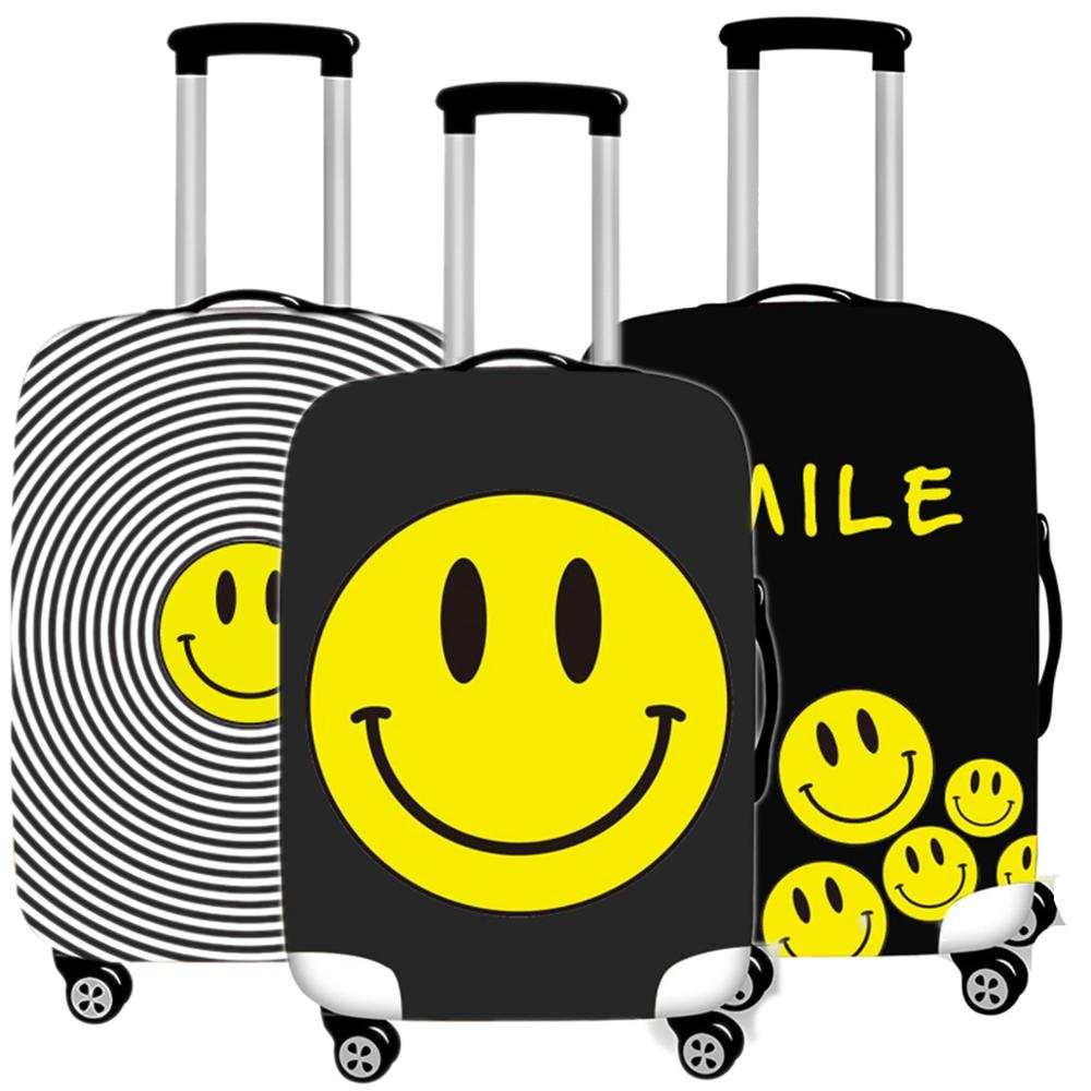 Travel Accessories Luggage Cover Cartoon Smiley Face Suitcase Dust Case Protective Cover Men Suitcases Organizer 18-32 Inche