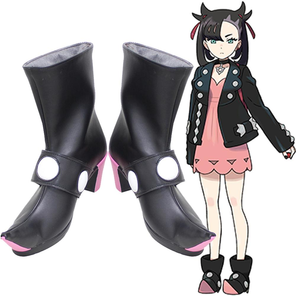 Anime Pokemon Pocket Monsters Sword and Shield Generation VIII Spikemuth Galar Trainer Marnie Mary Game Cosplay Shoes Boots