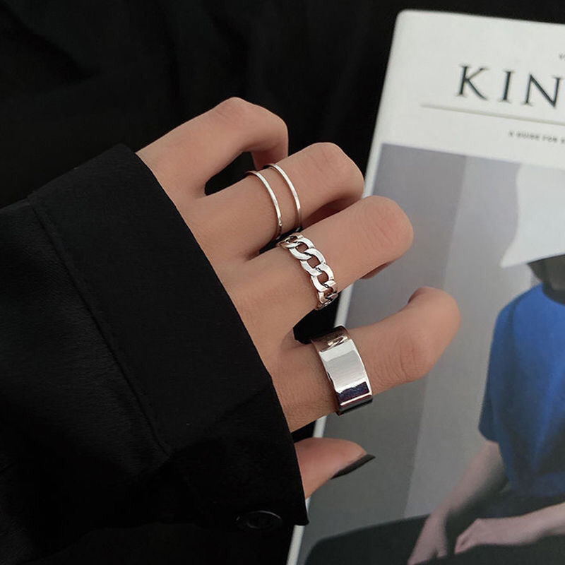 Fashion Simple Vintage Silver Color Rings Set For Women Korean Style Knuckles Jewelry Joint Tail Artistic Design Punk Ring Trend