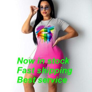 Women 2PCS Lips Print Tie Dye Short Sleeve T Shirt Tops Biker Workout High Waist Shorts Tracksuit Sports Outfit