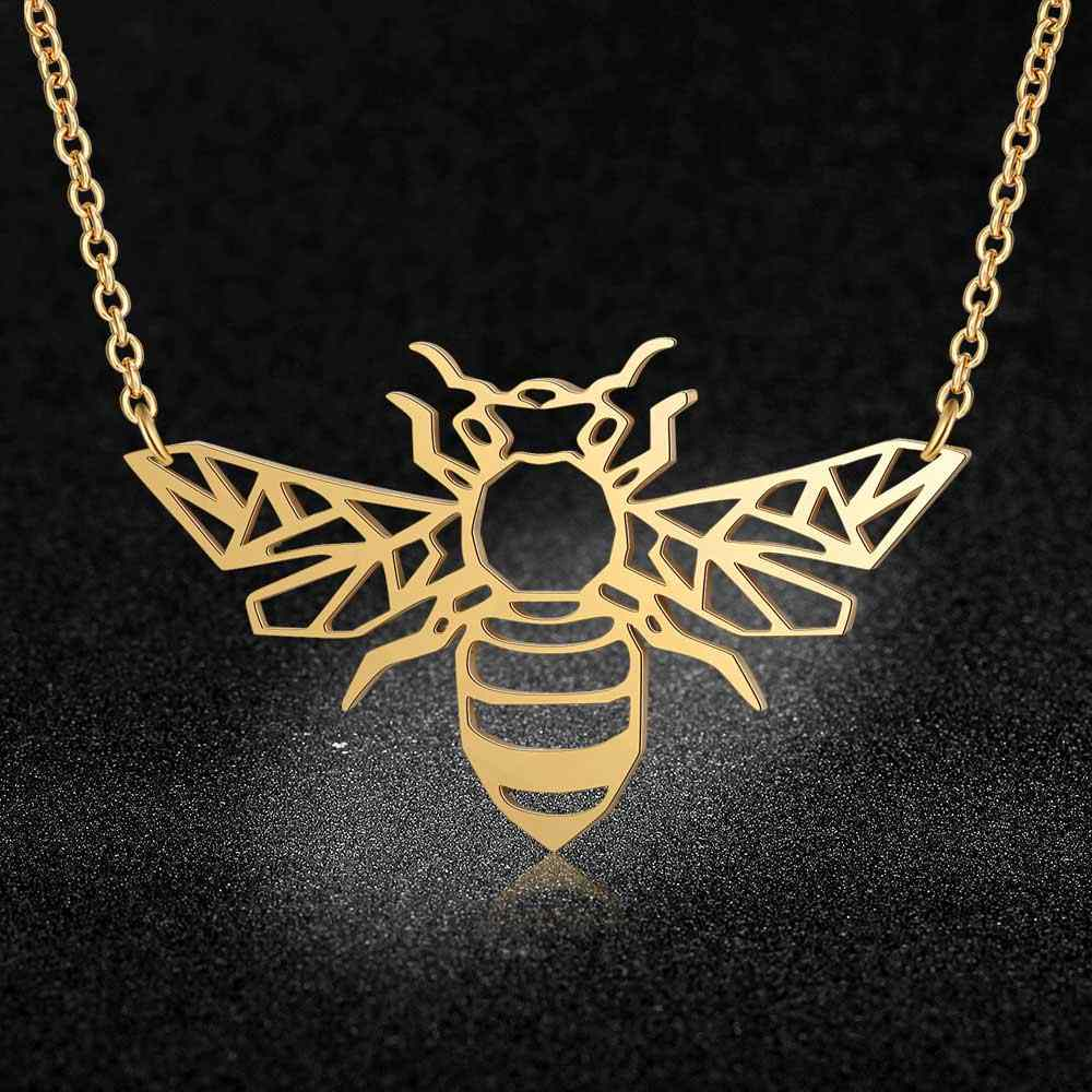 100% Real Stainless Steel Hollow Bee Necklace Special Gift Amazing Design Italy Design Fashion Animal Pendant Necklaces