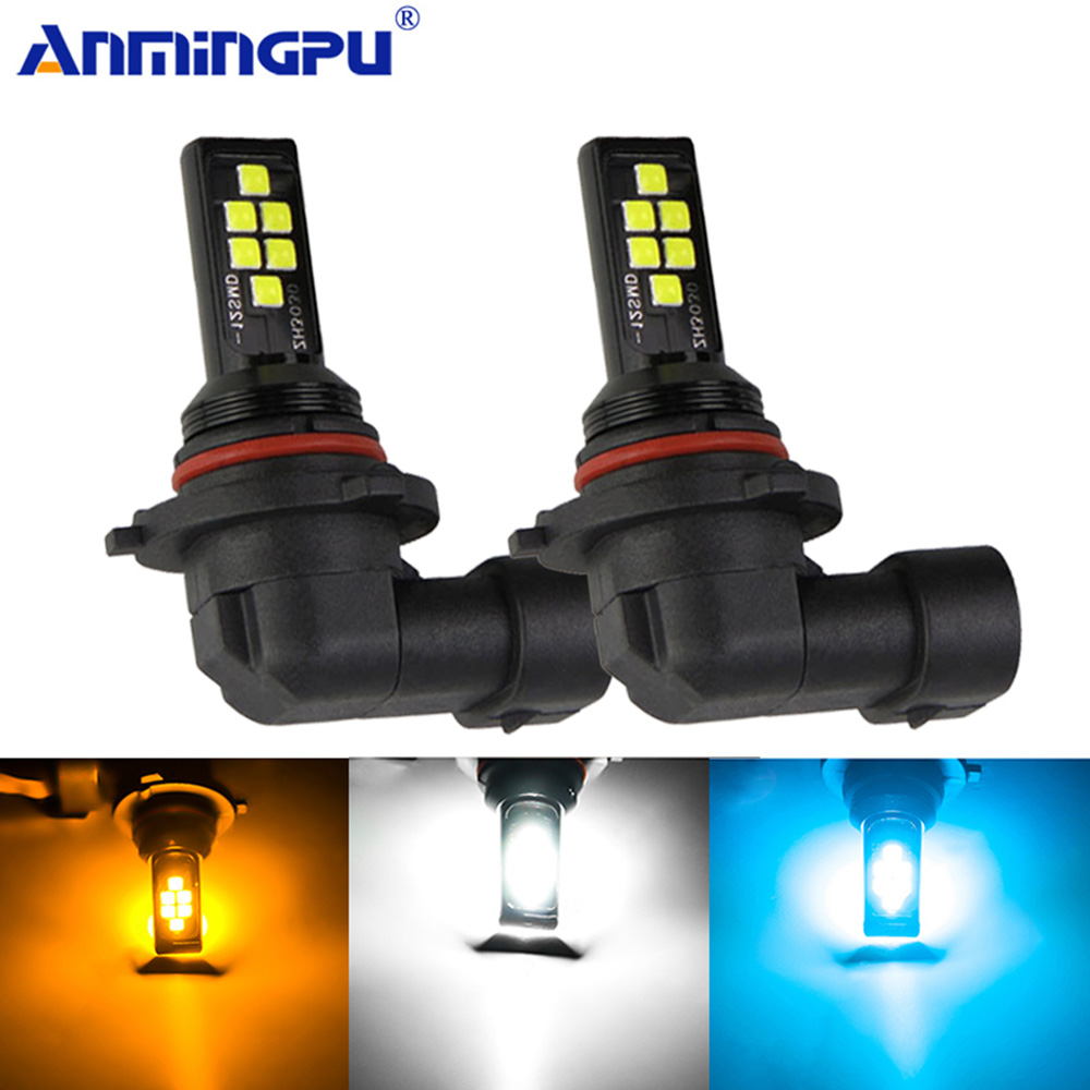 Anmingpu 2x Car Fog Lamp H9 H8 Led H11 H3 H1 Led H7 9005 HB3 9006 HB4 Led Canbus 2000LM H11 Led Fog Light Bulb White Ice Blue