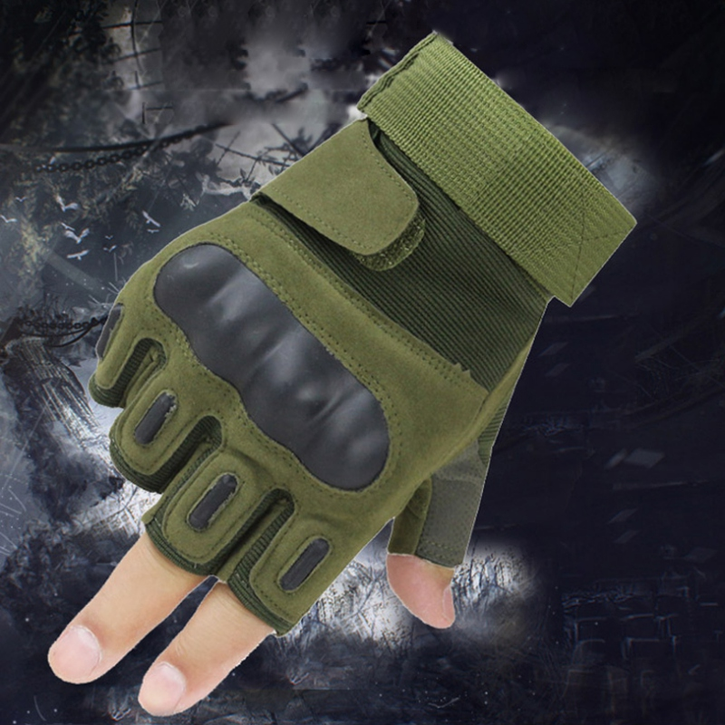 Hard Tactical Gloves Half Knuckle Finger Army Men Military Fighter Hunting Shooting Airsoft Paintball Police Duty-Fingerless