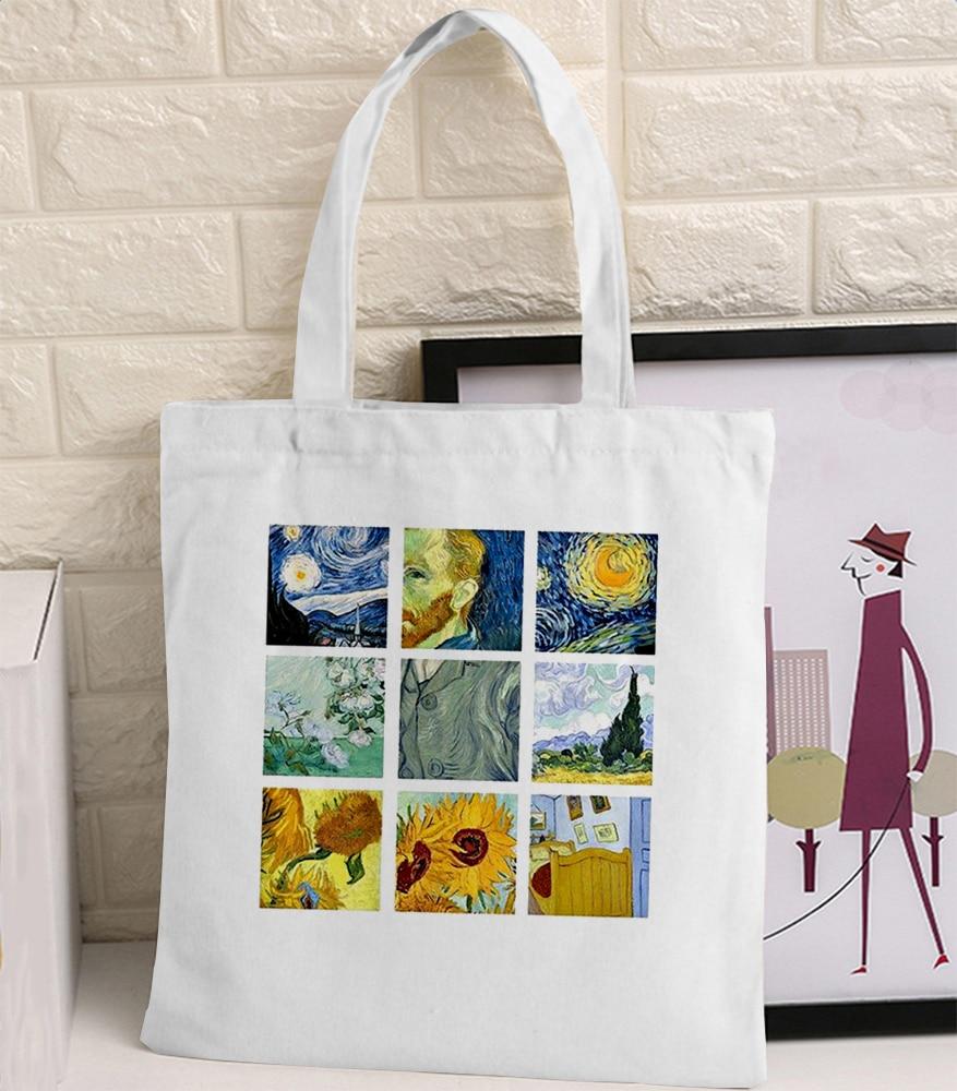 348.68руб. 30% СКИДКА|Сумка через плечо из парусины с рисунком Ван Гога, Женская забавная сумка в стиле Харадзюку Ulzzang, вместительная Экологичная сумка шоппер|Хозяйственные сумки| |  - AliExpress
