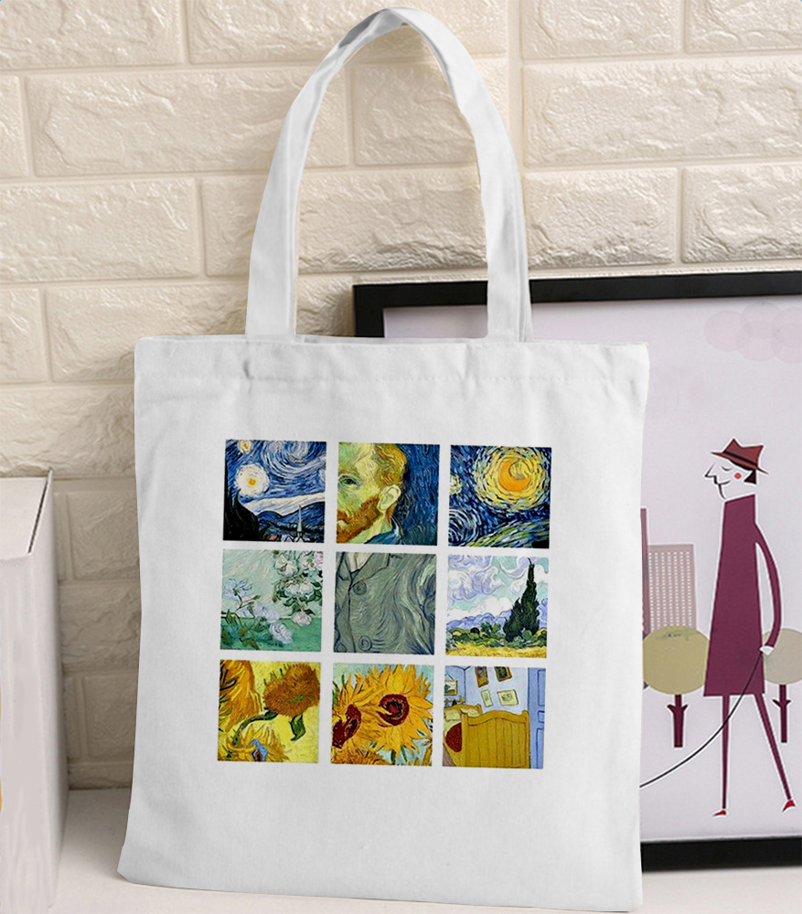 Van Gogh Graphic Cartoon Printed Canvas Shoulder Bag Female Harajuku Ulzzang Funny Large-capacity Eco Environmental Shopper Bag