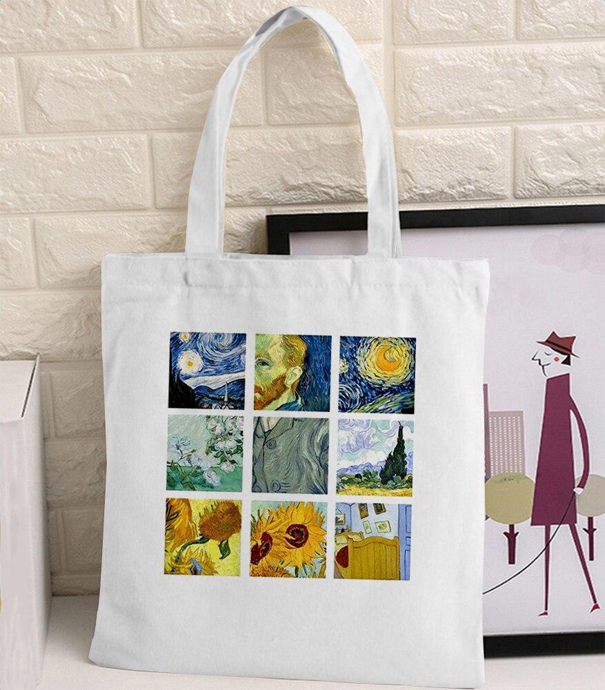 Van Gogh Graphic Cartoon Printed Canvas Shoulder Bag Female Harajuku Ulzzang Funny Large-capacity Eco Environmental Shopper Bag