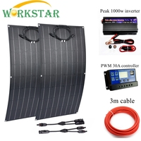 2pcs ETFE Flexible Solar Panels 100w Solar Charger For RV/Boat 200w Solar Power System For Beginner RV/Boat Battery Charger