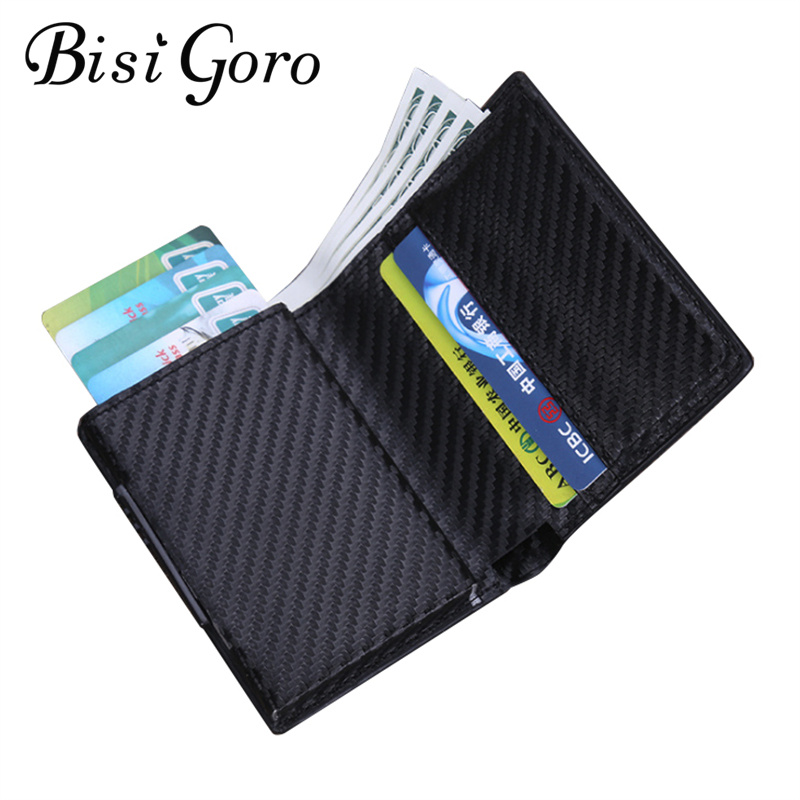 BISI GORO Fashion Unisex Metal Credit Card Holder With RFID Anti-theft Wallet Money Purse Smart Wallet 7 Colors For Business