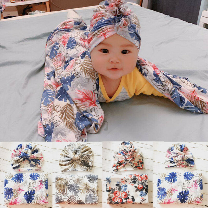 Baby Newborn Boy Girl Floral Cotton Soft Swaddle Wrap Blanket Sleeping Bag Cloth +Hat Set Baby Covers 2pcs