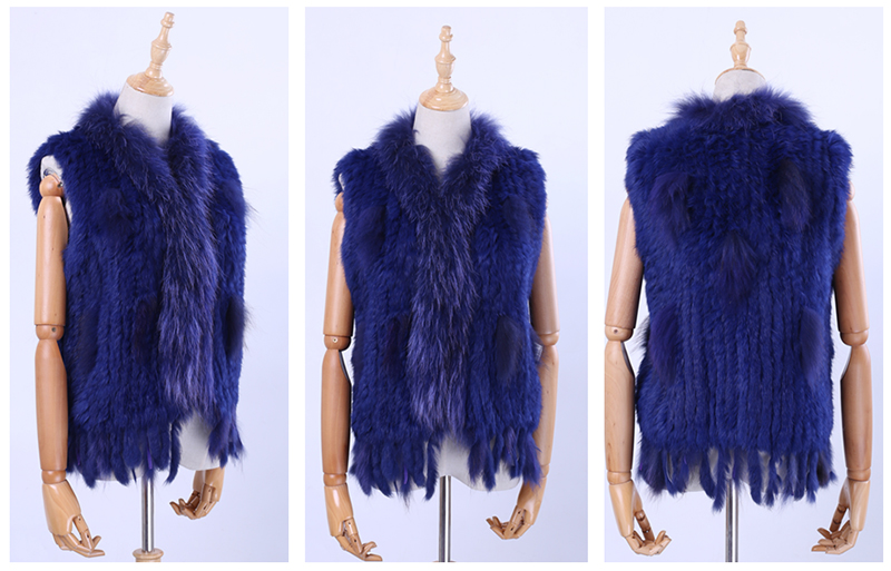 H379df094445c494e8802d5b84b6071d4d Brand New Women's Lady Genuine Real Knitted Rabbit Fur Vests tassels Raccoon Fur Trimming Collar Waistcoat Fur Sleeveless Gilet