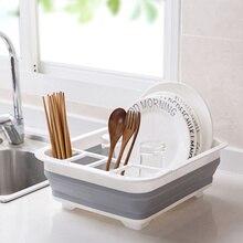 Faltbare Dish Rack Küche Lagerung Abtropffläche Schüssel Küche Veranstalter Geschirr Organizador Geschirr Waschbecken Rack Rangement