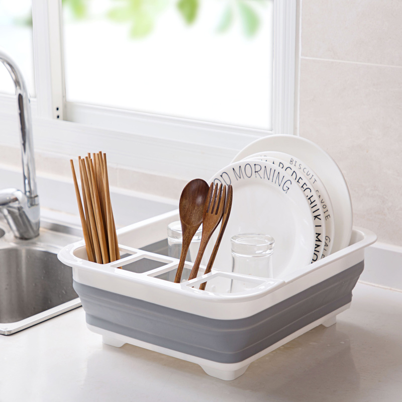 Foldable Drying Dish Rack Kitchen Storage Drainer Bowl Kitchen Organizer Dinnerware Organizador Tableware Sink Rack Rangement-in Racks & Holders from Home & Garden