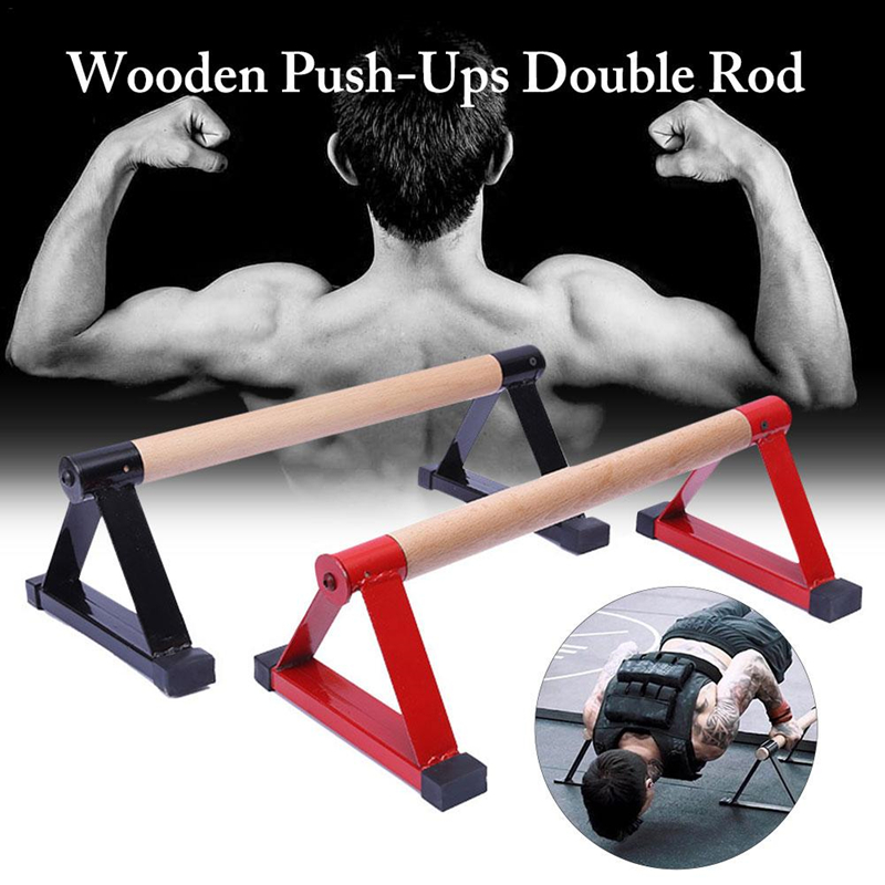 Wooden Parallettes Set Push-up Parallel Bars Stretch Double Rod Stand Calisthenics Handstand  Anti Gravity Fitness Equipment F20