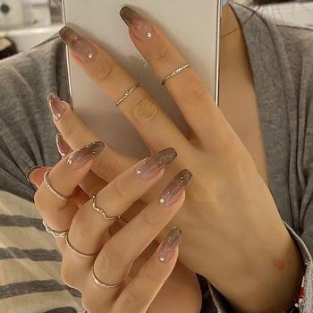 24 sztuk Nails Patch z małym diamentowym klejem typu długi akapit Gradient moda Manicure Patch fałszywe paznokcie Patch NIN668 tanie i dobre opinie CN (pochodzenie) Palec Z żywicy Sztuczne paznokcie Pełne końcówki paznokci