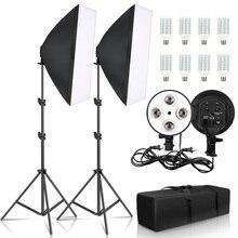 Fotoğrafçılık 50x70CM dört lamba Softbox kiti sürekli aydınlatma sistemi yumuşak kutusu aksesuarları fotoğraf stüdyosu ekipmanları